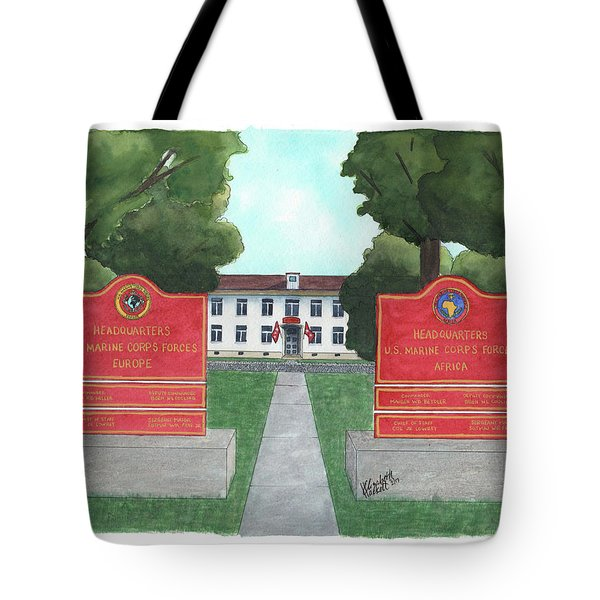 Tote Bag featuring the painting Marine Forces Europe And Marine Forces Africa by Betsy Hackett