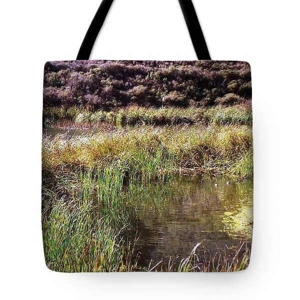 Marine Headlands Pond And Flowers Tote Bag by Ted Pollard