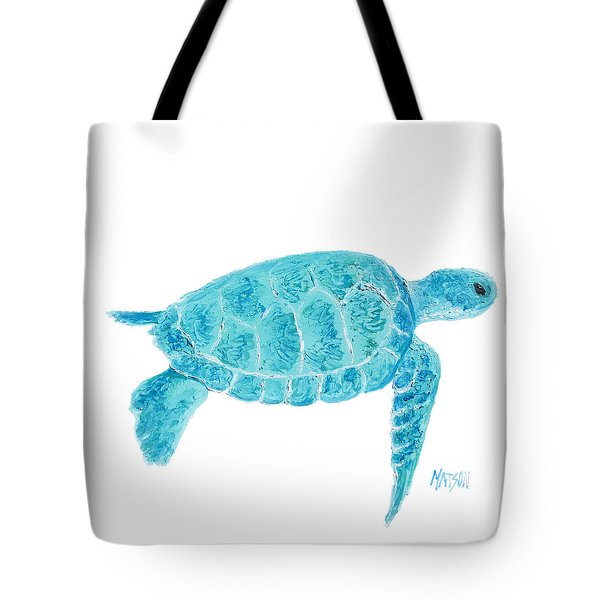 Marine Turtle Painting On White Tote Bag