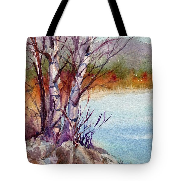 Tote Bag featuring the painting Mari's Birches by Kris Parins