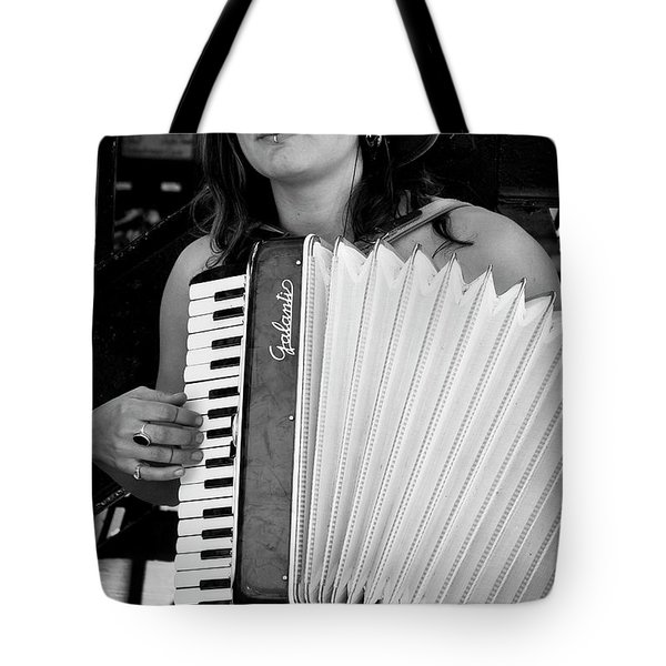 Market Accordion Player Tote Bag by David Patterson