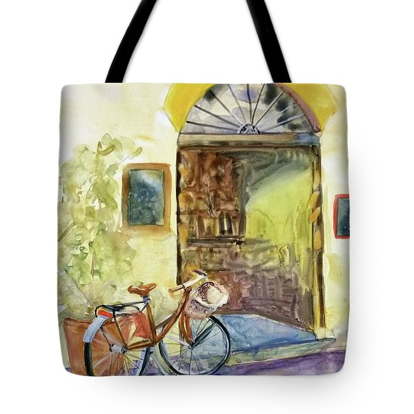 Tote Bag featuring the painting Market Day In Lucca by Bonnie Rinier