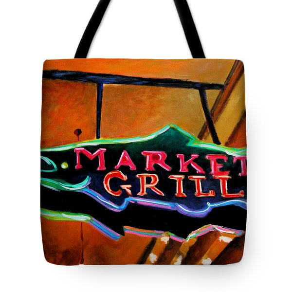 Tote Bag featuring the painting Market Grill by Marti Green