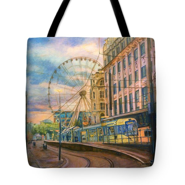 Market Street Metrolink Tramstop With The Manchester Wheel  Tote Bag