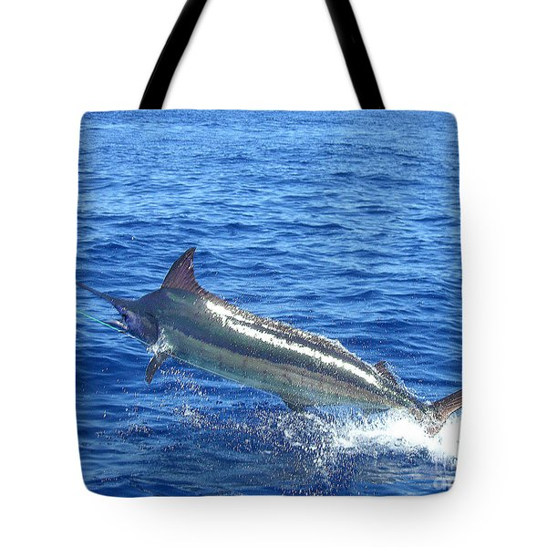 Marlin On The Line Tote Bag
