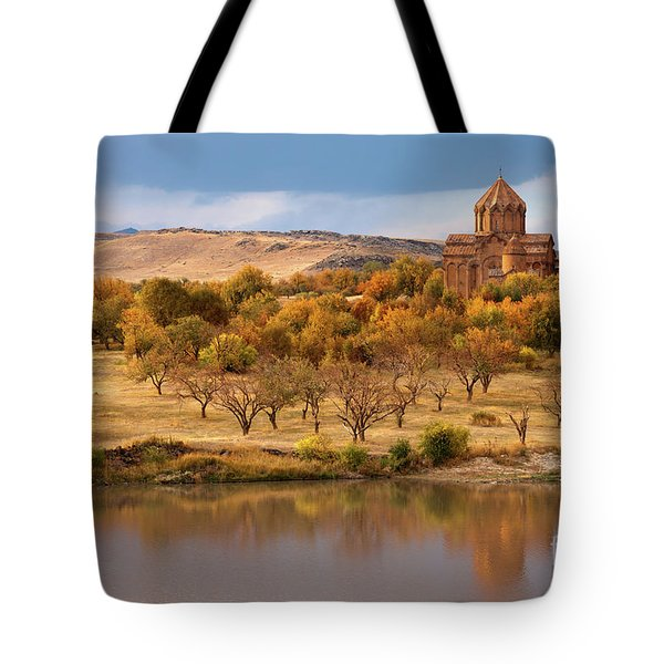 Marmashen Monastery Reflected On Lake At Autumn, Armenia Tote Bag