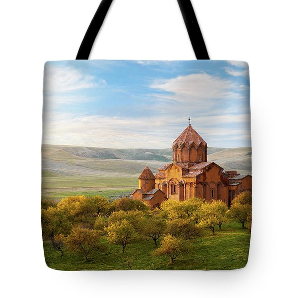 Marmashen Monastery Surrounded By Yellow Trees At Autumn, Armeni Tote Bag