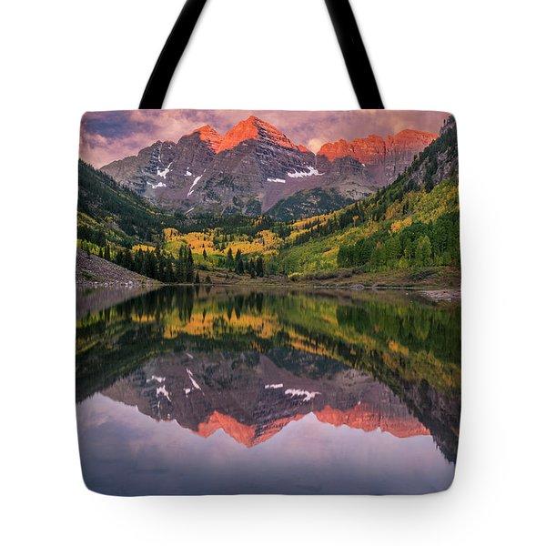 Maroon Bells At Sunrise Tote Bag