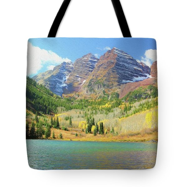 Tote Bag featuring the photograph The Maroon Bells Reimagined 2 by Eric Glaser