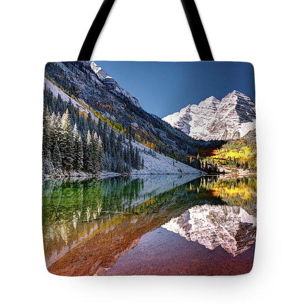 Olena Art Sunrise At Maroon Bells Lake Autumn Aspen Trees In The Rocky Mountains Near Aspen Colorado Tote Bag