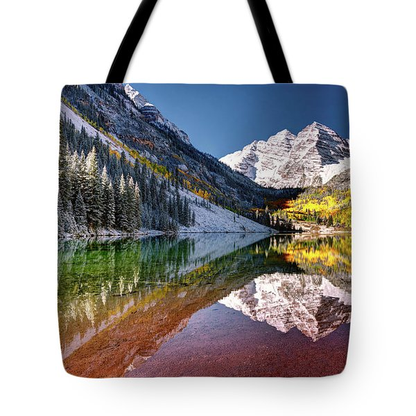 Tote Bag featuring the photograph Olena Art Sunrise At Maroon Bells Lake Autumn Aspen Trees In The Rocky Mountains Near Aspen Colorado by OLena Art Brand