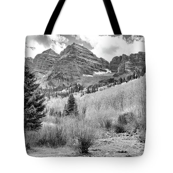 Tote Bag featuring the photograph Maroon Bells Monochrome by Eric Glaser