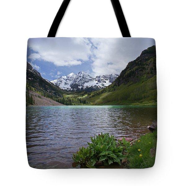 Maroon Bells Spring Tote Bag by Heather Coen