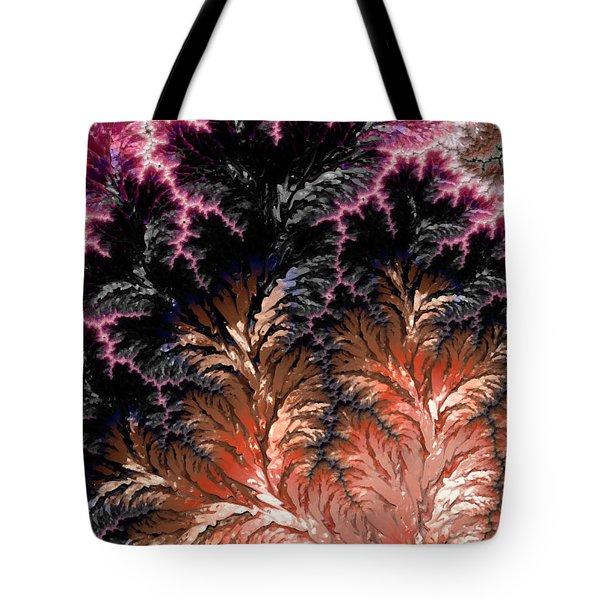 Maroon, Black And Orange Fractal Design Tote Bag