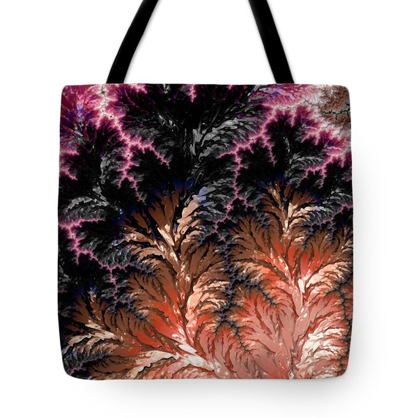 Maroon, Black And Orange Fractal Design Tote Bag
