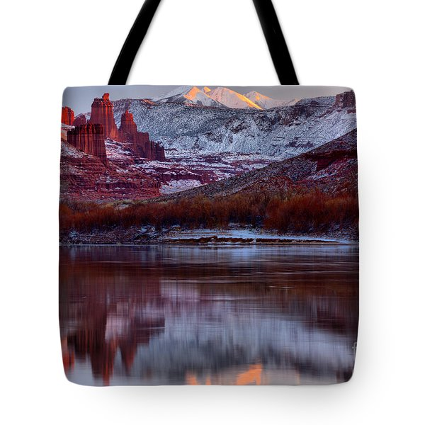 Tote Bag featuring the photograph Maroon Fisher Towers by Adam Jewell