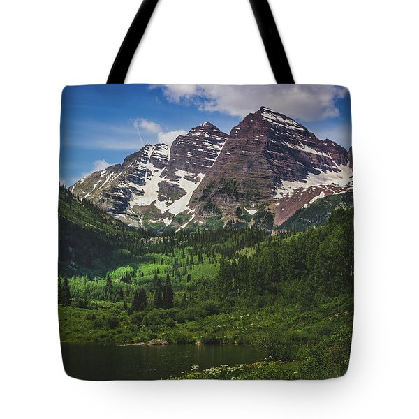 Tote Bag featuring the photograph Maroon Lake And Maroon Bells by Andy Konieczny