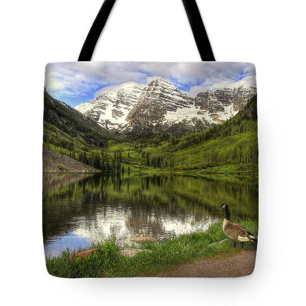 Maroon Lake Goose Tote Bag