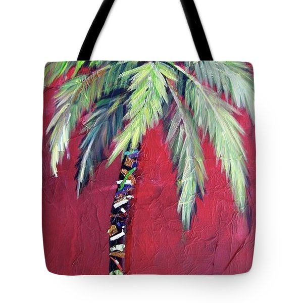 Maroon Palm Tree Tote Bag