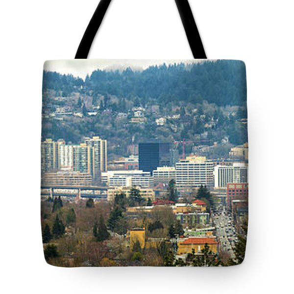 Marquam Bridge By Portland City Skyline Panorama Tote Bag by David Gn