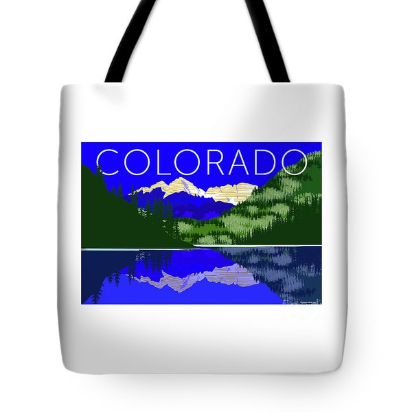 Tote Bag featuring the digital art Maroon Bells Day by Sam Brennan