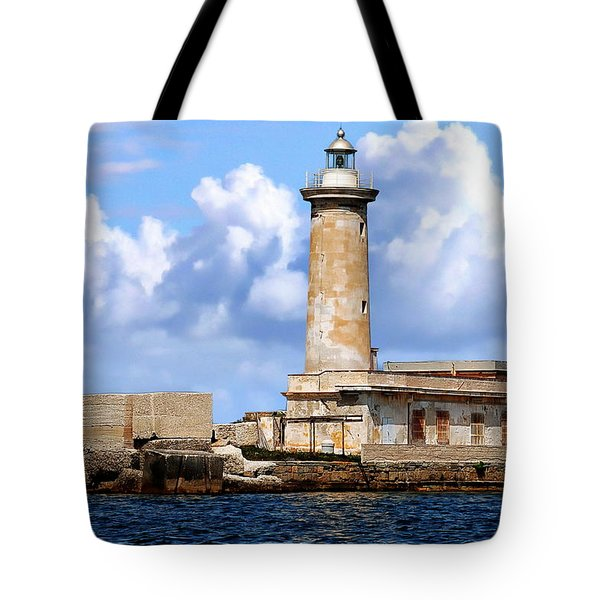 Marsala Lighthouse Tote Bag by Anthony Dezenzio