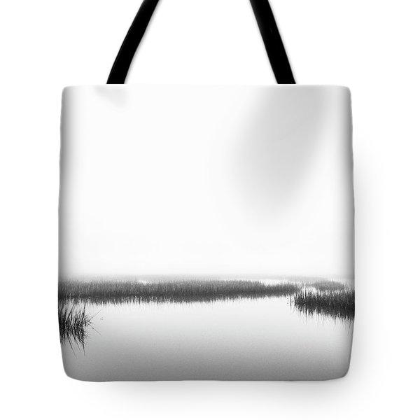 Marsh Fog - Black And White Photo Art Tote Bag