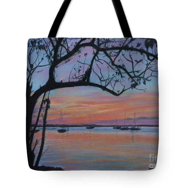 Marsh Harbour At Sunset Tote Bag
