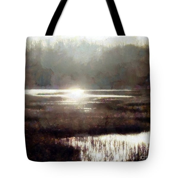 Tote Bag featuring the photograph Marsh Moods - At The End Of The Day - Horizontal by Janine Riley