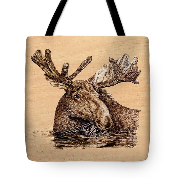 Marsh Moose Pillow/bag Tote Bag by Ron Haist