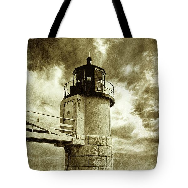 Marshall Point Lighthouse Sepia Distessed Antique Look Tote Bag