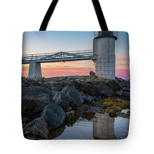 Marshall Point Reflection At Sunrise Tote Bag