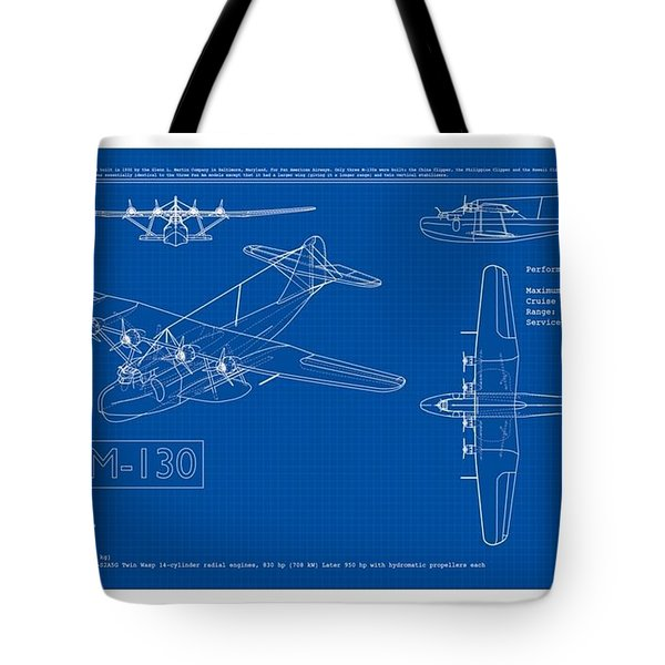 Tote Bag featuring the drawing Martin 1935 M 130 Seaplane Blueprint by Peter Gumaer Ogden Collection