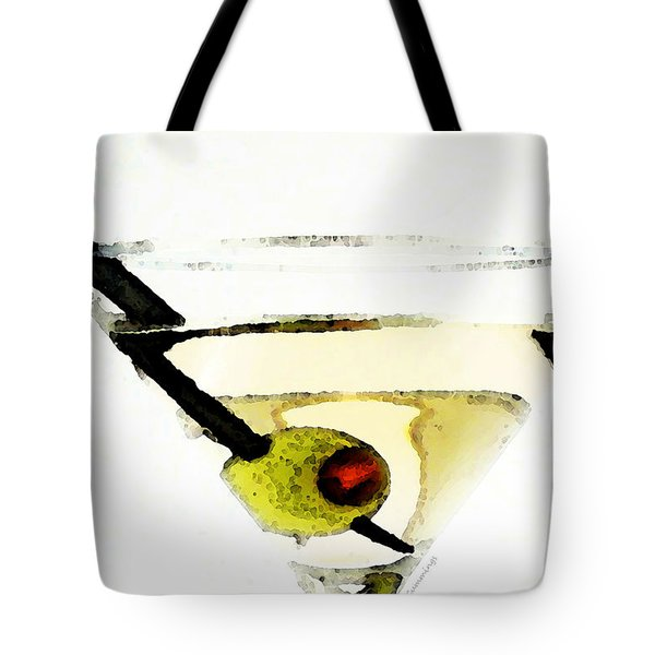 Martini With Green Olive Tote Bag by Sharon Cummings