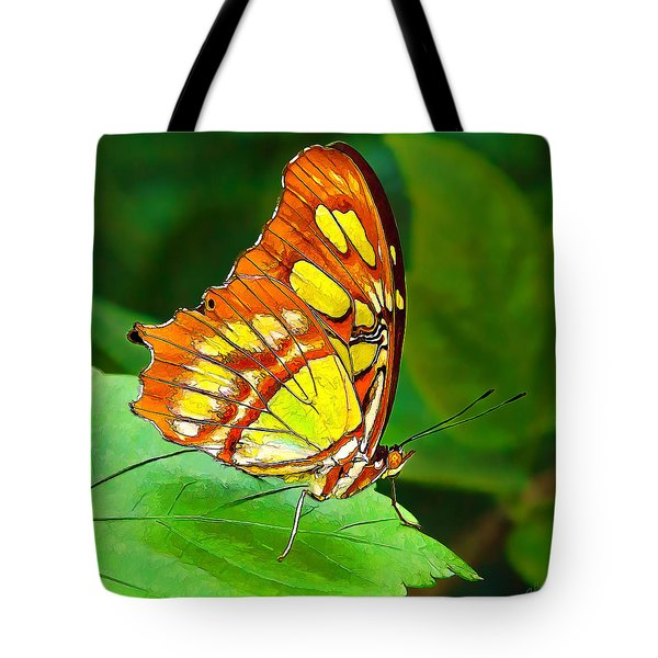Marvelous Malachite Butterfly Tote Bag