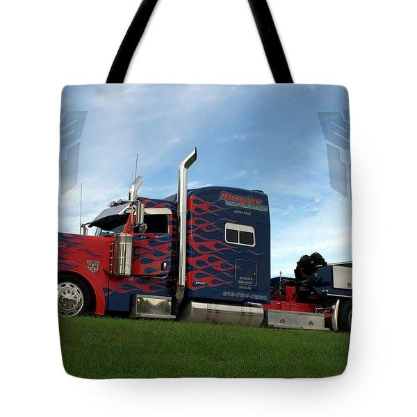 Transformers Optimus Prime Tow Truck Tote Bag