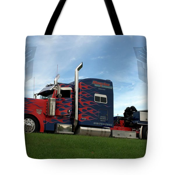 Transformers Optimus Prime Tow Truck Tote Bag by Tim McCullough