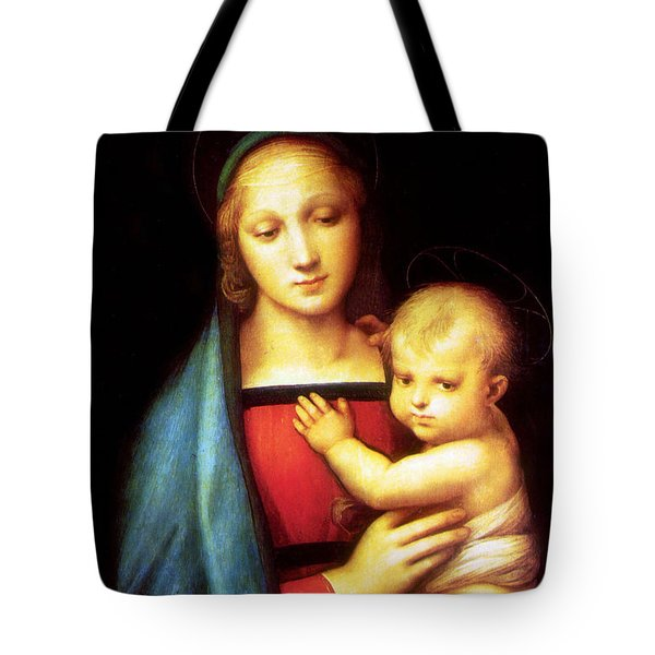 Mary And Baby Jesus Tote Bag by Munir Alawi