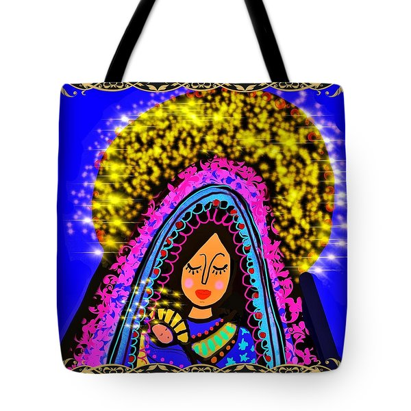 Crowned Mary And Baby Jesus Tote Bag
