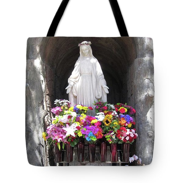 Tote Bag featuring the photograph Mary At The Mission by Mary Ellen Frazee