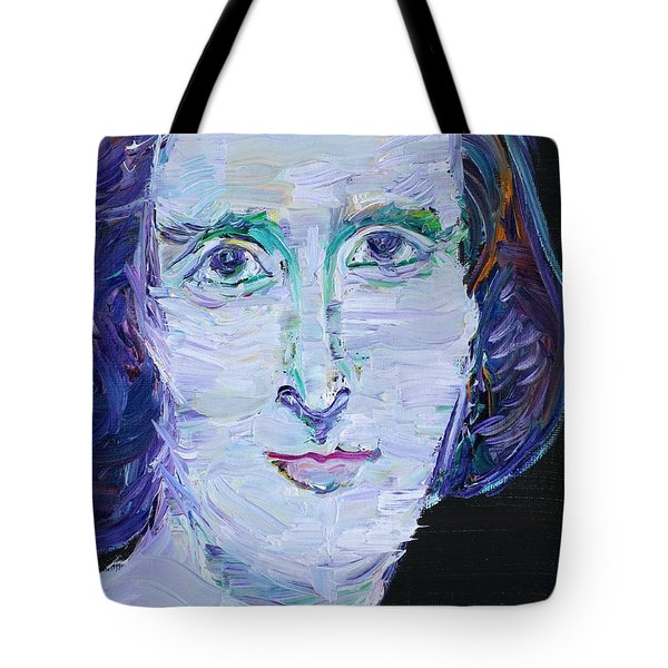 Tote Bag featuring the painting Mary Shelley - Oil Portrait by Fabrizio Cassetta