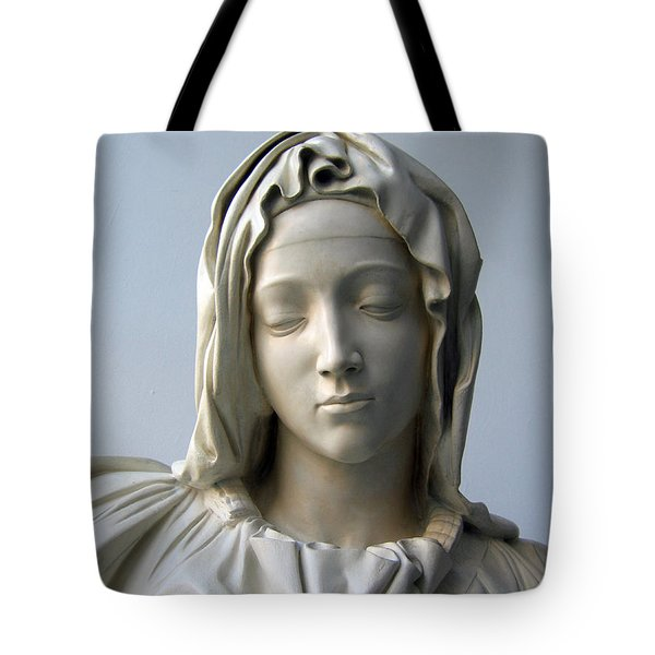 Tote Bag featuring the sculpture Mary by Suhas Tavkar