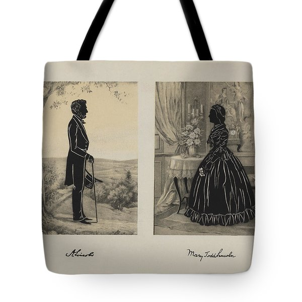 Mary Todd And Abraham Lincoln Silhouettes Tote Bag