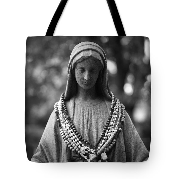 Mary With Rosaries Tote Bag