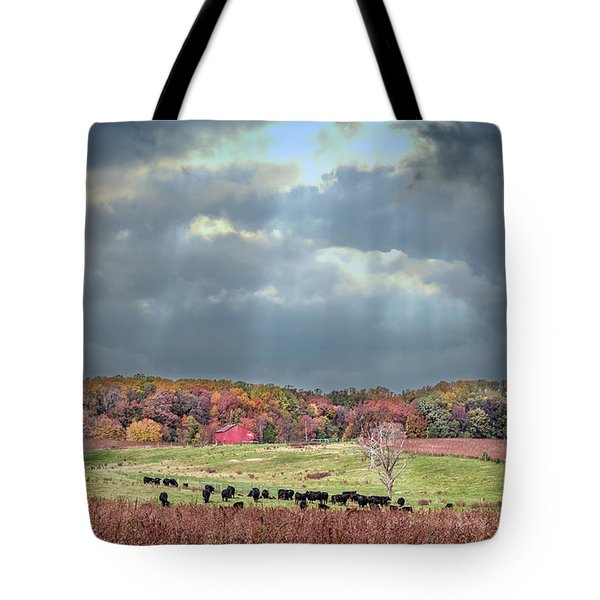 Maryland Farm With Autumn Colors And Approaching Storm Tote Bag