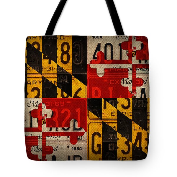 Maryland State Flag Recycled Vintage License Plate Art Tote Bag by Design Turnpike