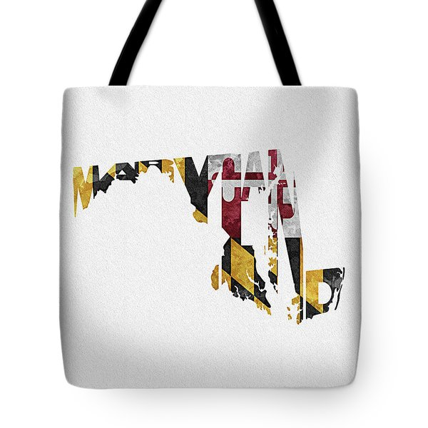 Maryland Typographic Map Flag Tote Bag