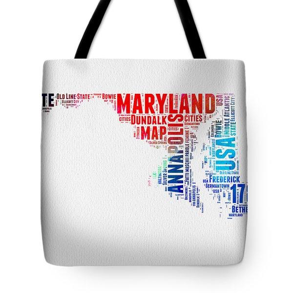 Maryland Watercolor Word Cloud  Tote Bag