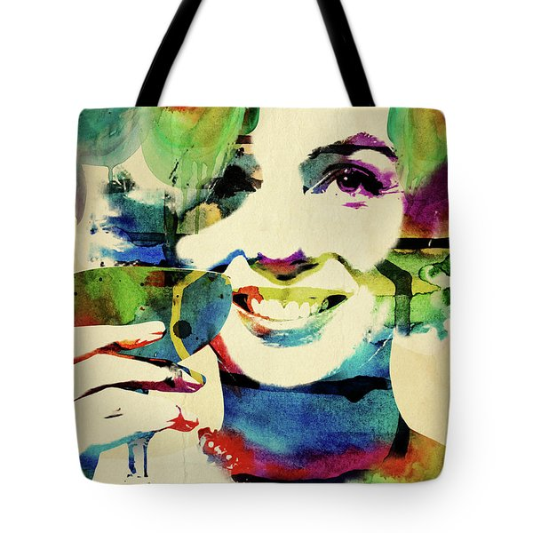 Marilyn And Her Drink Tote Bag by Mihaela Pater