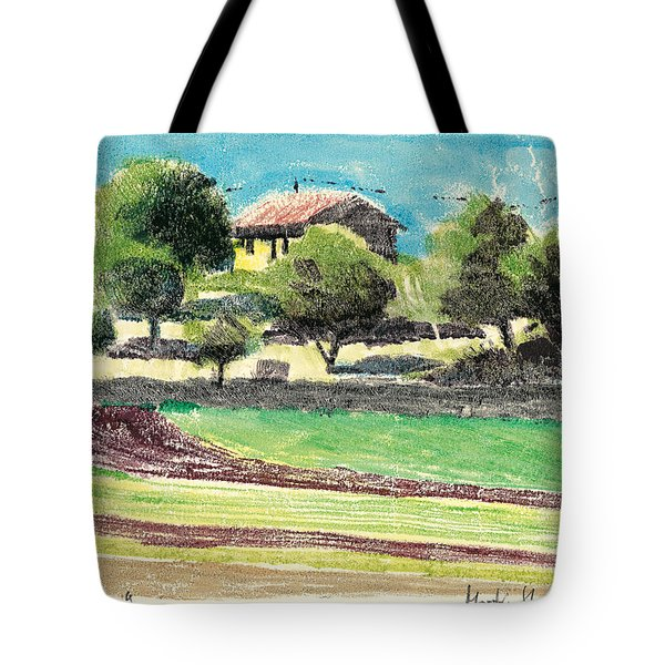 Tote Bag featuring the painting mas en Provence landscape by Martin Stankewitz
